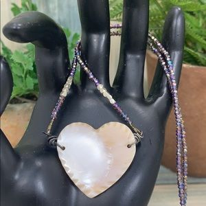 ✨Adorned Crown mother of pearl heart bead necklace